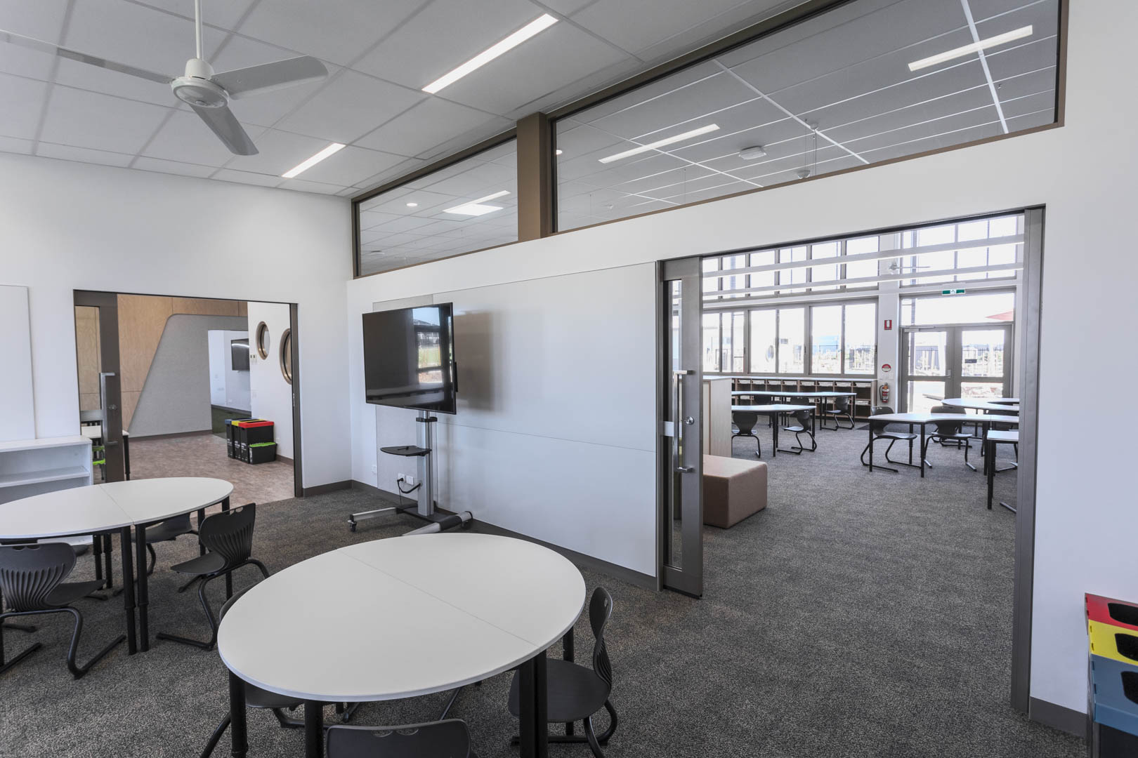 image of two acoustic glazed sliding doors installed in a grammar school