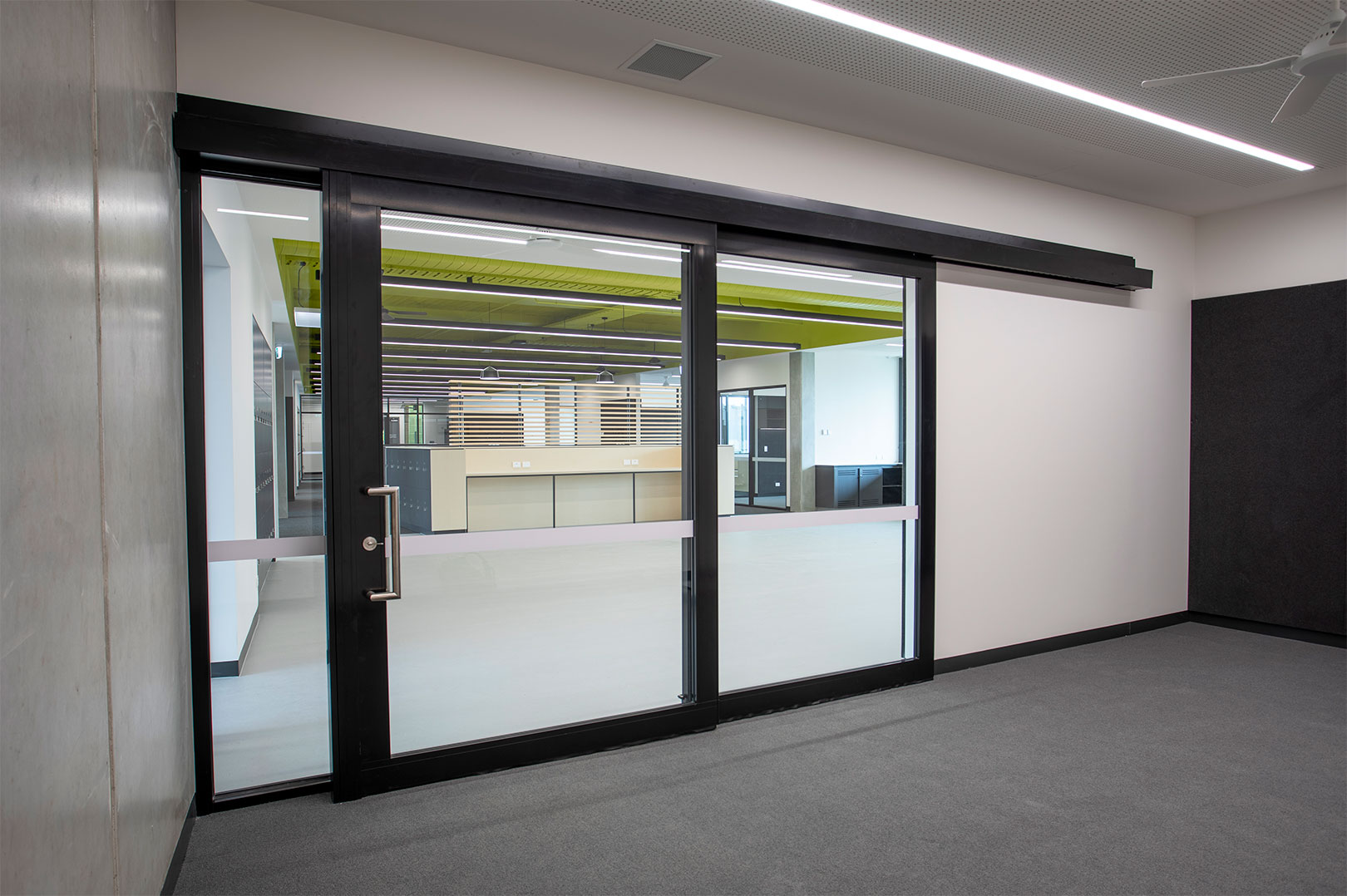 image of acoustic sliding door installed at a Victoria high school
