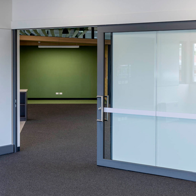 image of acoustic sliding door installed in a high school