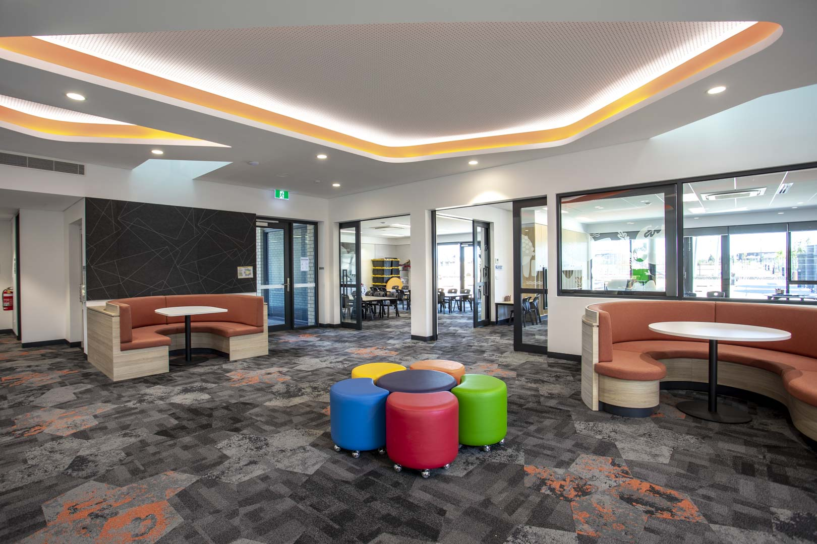 image of a flexible learning space inside a grammar school featuring acoustic sliding doors