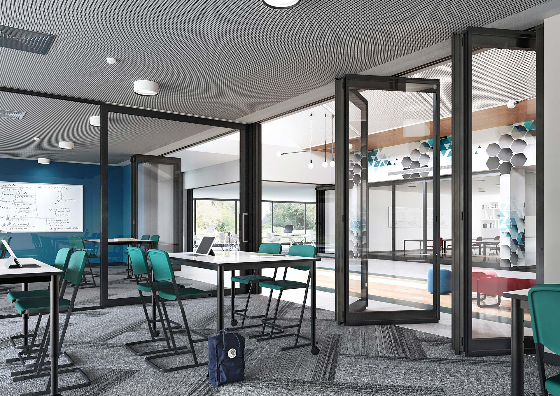 image of a flexible learning area created with acoustic operable wall and acoustic sliding doors
