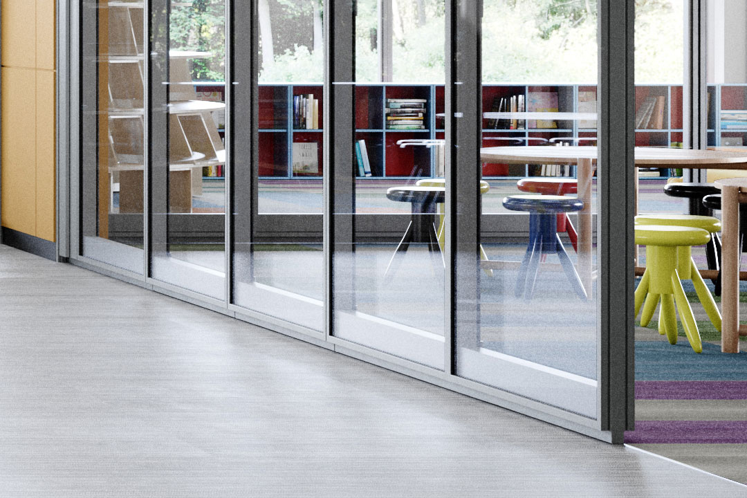 image of a primary school with Optica acoustic operable walls featuring auto-drop bottom seals