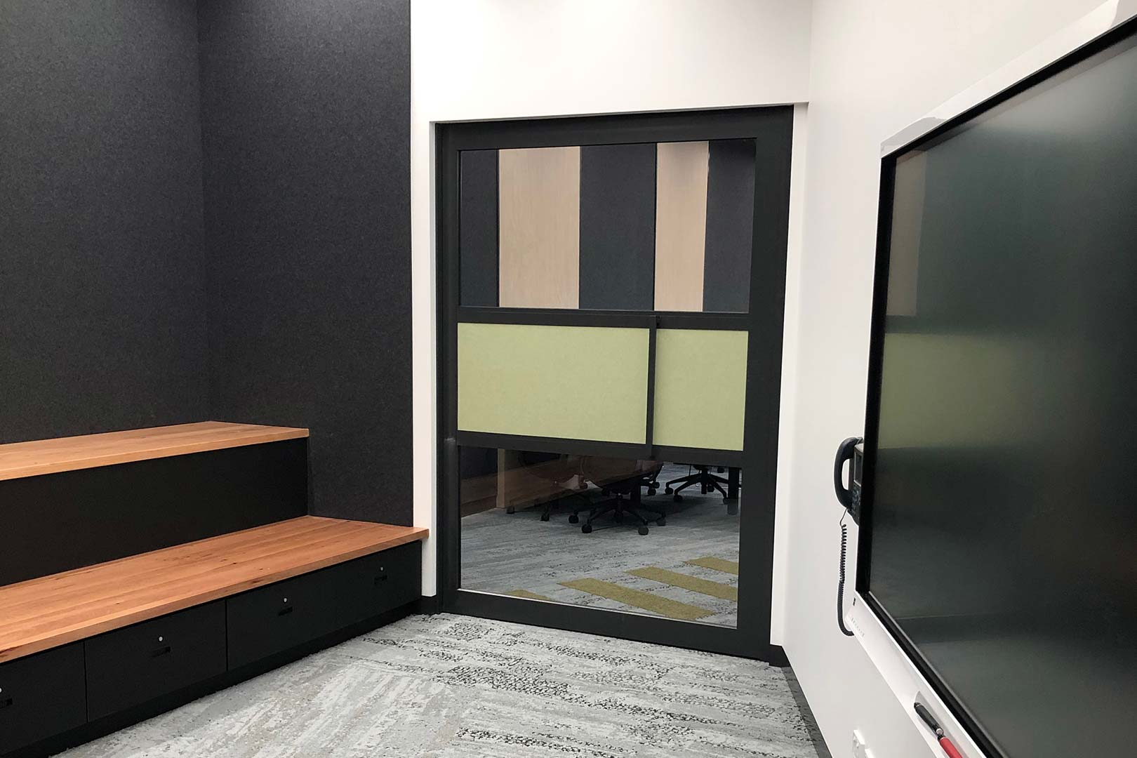 image of acoustic sliding door system installed in a university