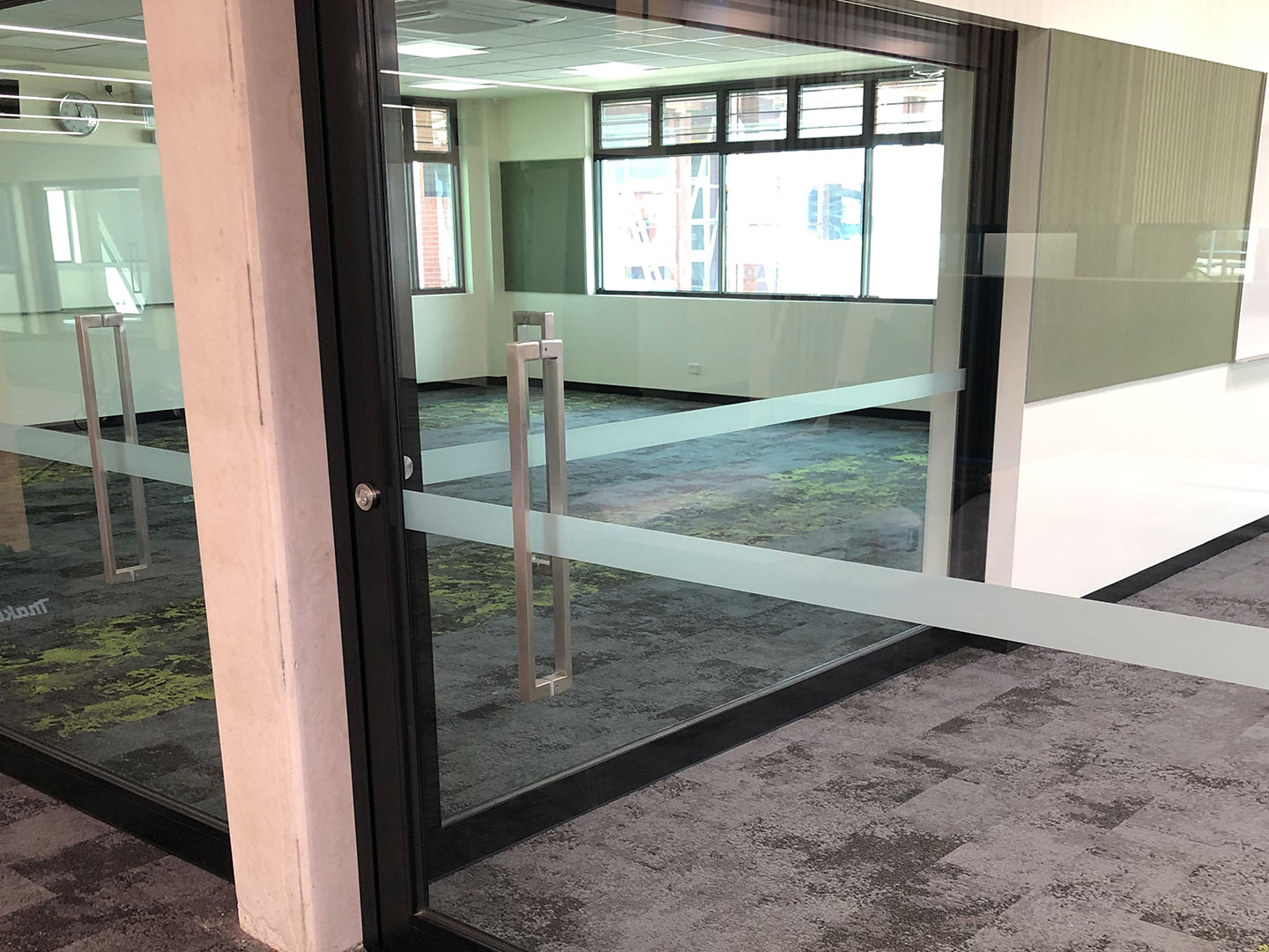 image of cavity acoustic sliding door systems installed at a school