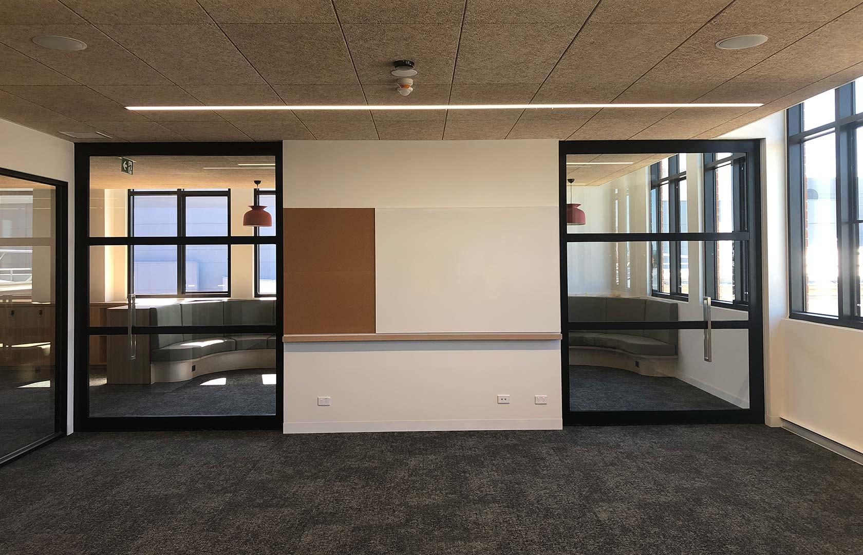 image of acoustic sliding door system used to create general learning areas in a school
