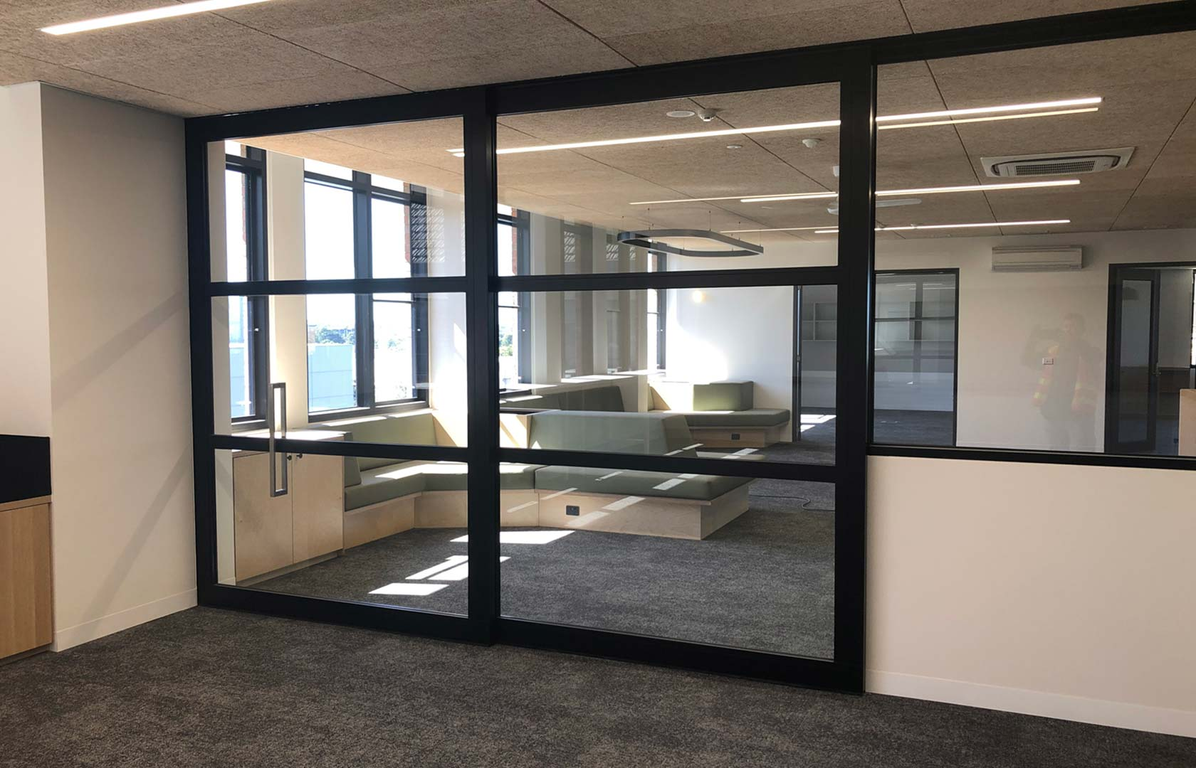 image of cavity mounted and face mounted acoustic sliding door systems
