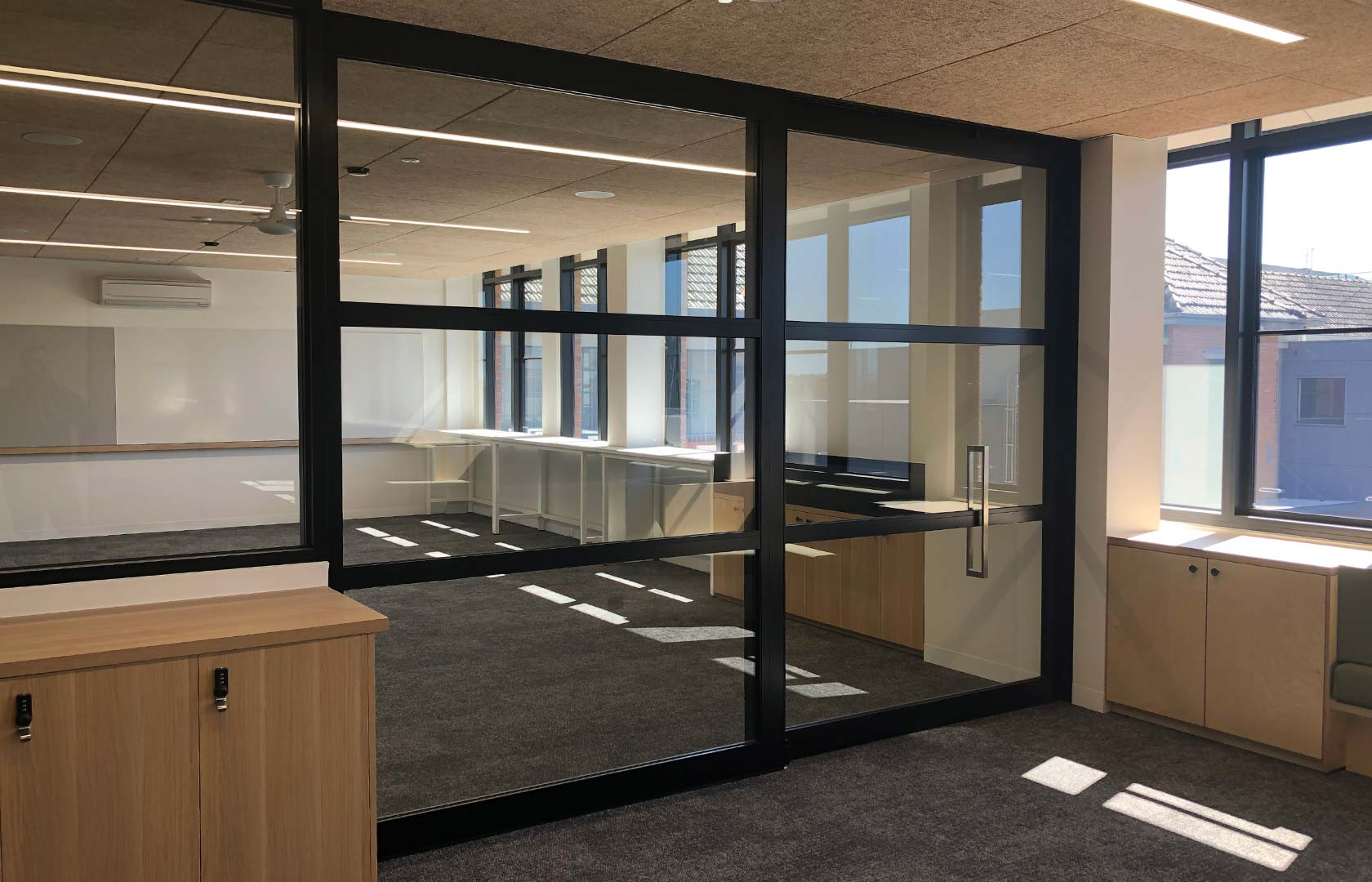 image of acoustic sliding door system at Victoria secondary school