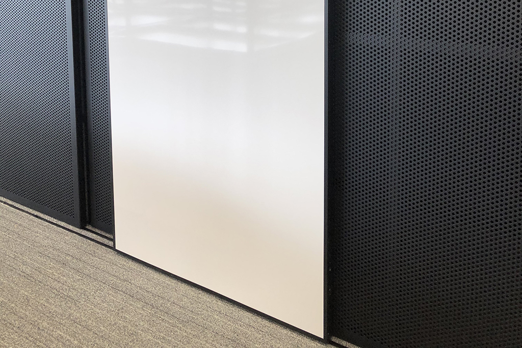 GLYDE decorative screens with whiteboard to create storage spaces