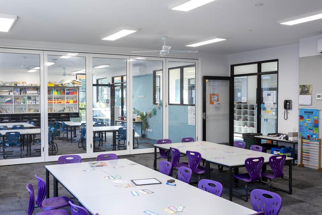 GLYDE single glazed doors in primary school closed