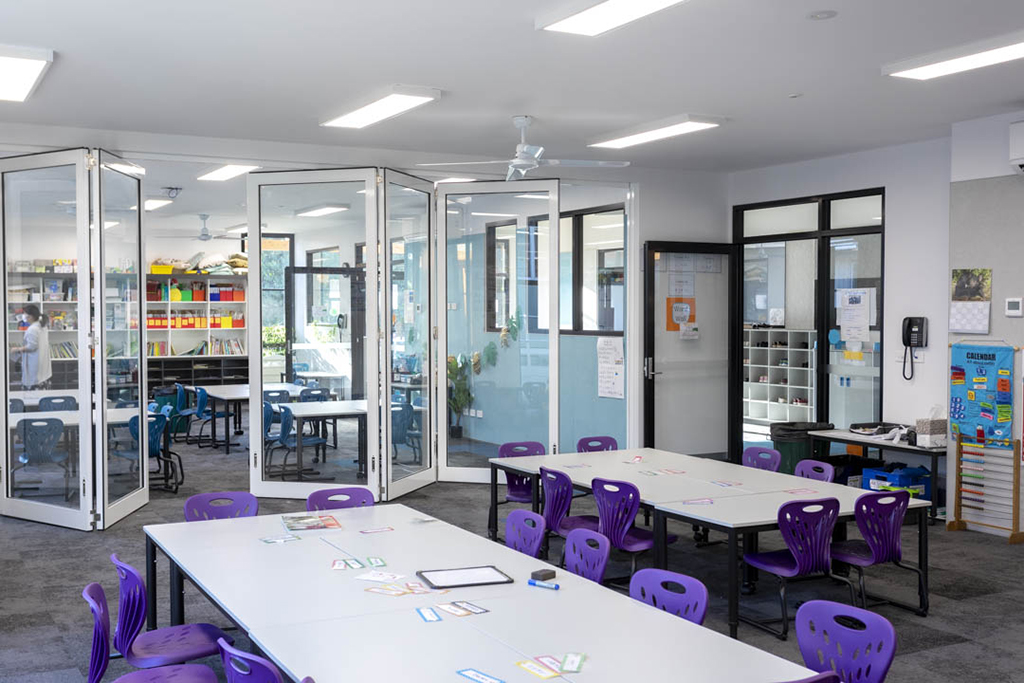 image of open single glazed doors creating flexible learning areas