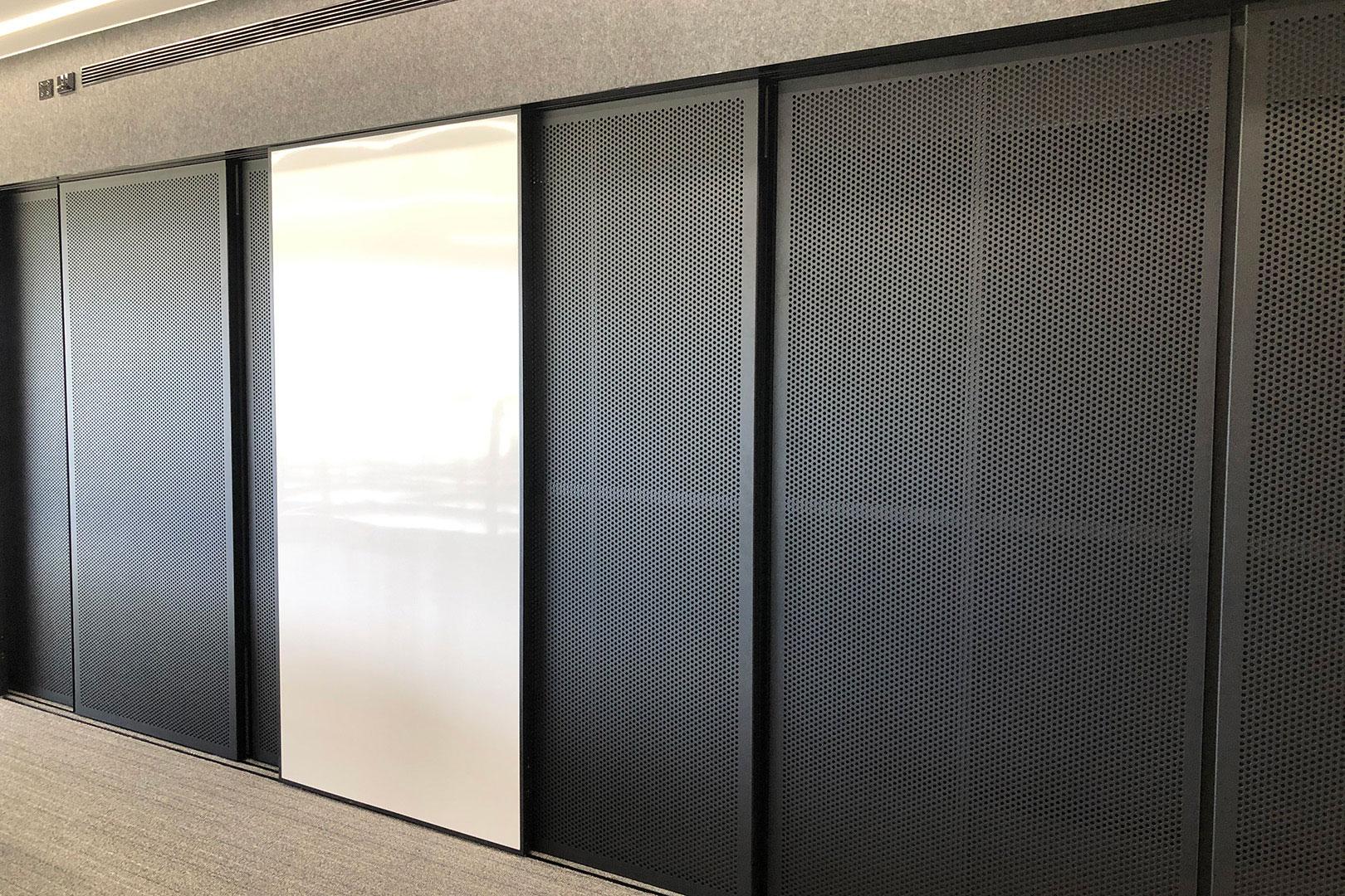image of a decorative screen sliding door at a school