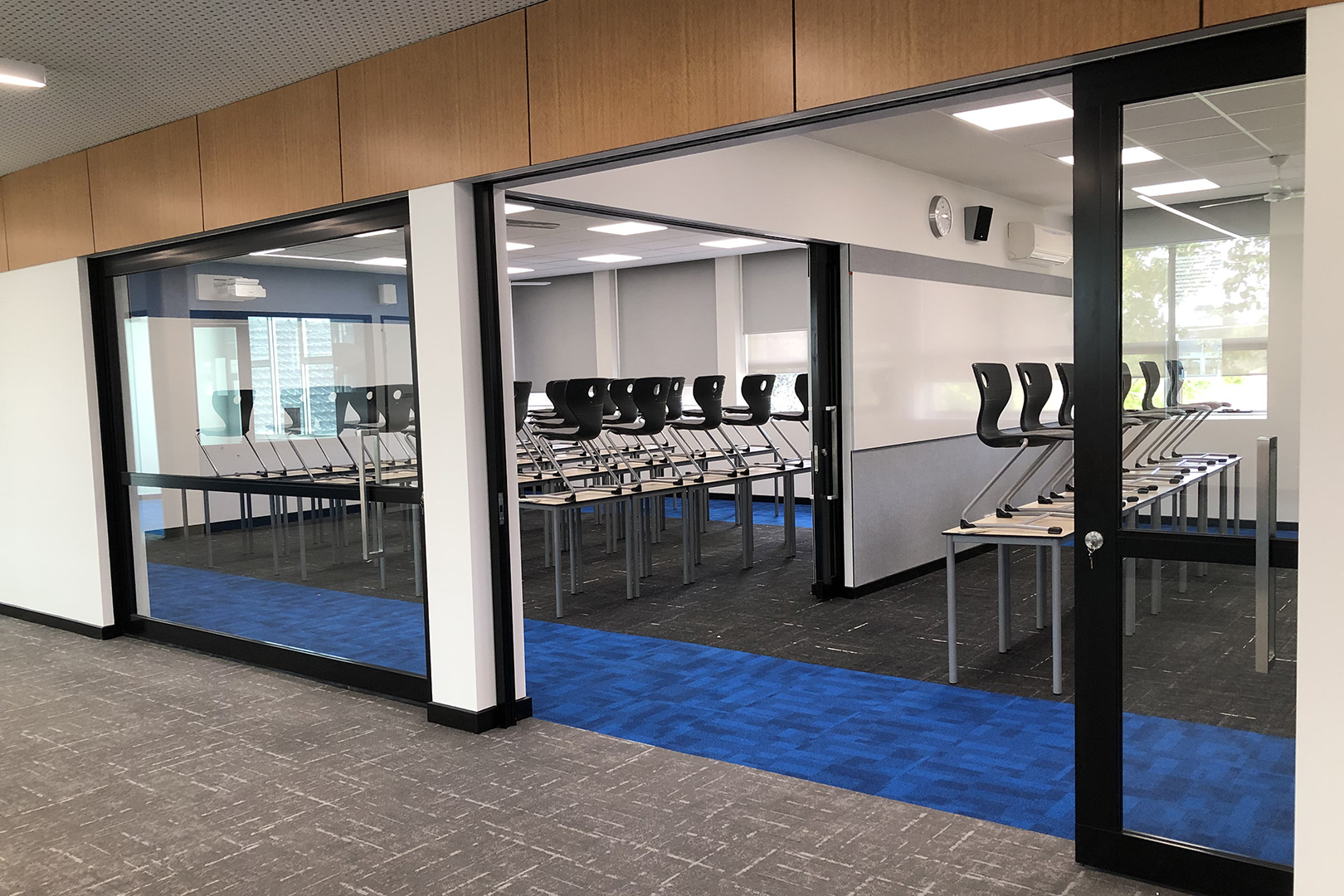 flexible learning area created with installed GLYDE acoustic sliders