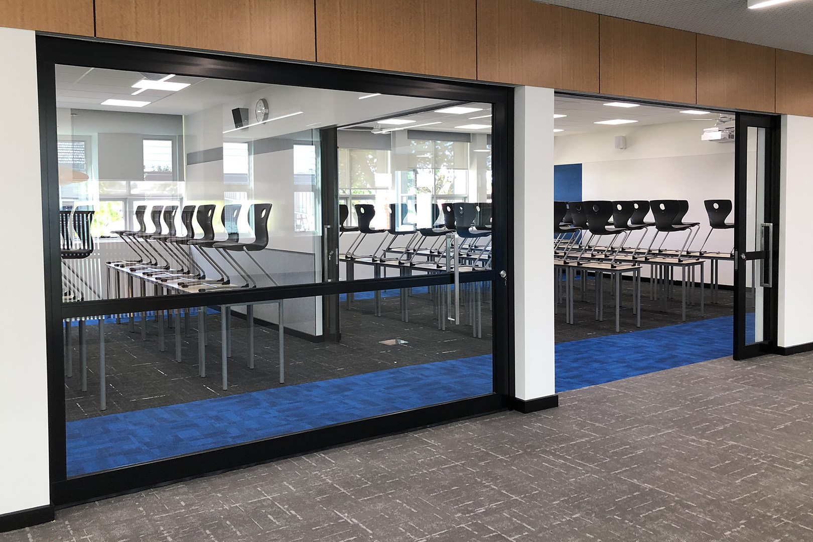 flexible learning area created with GLYDE acoustic sliders