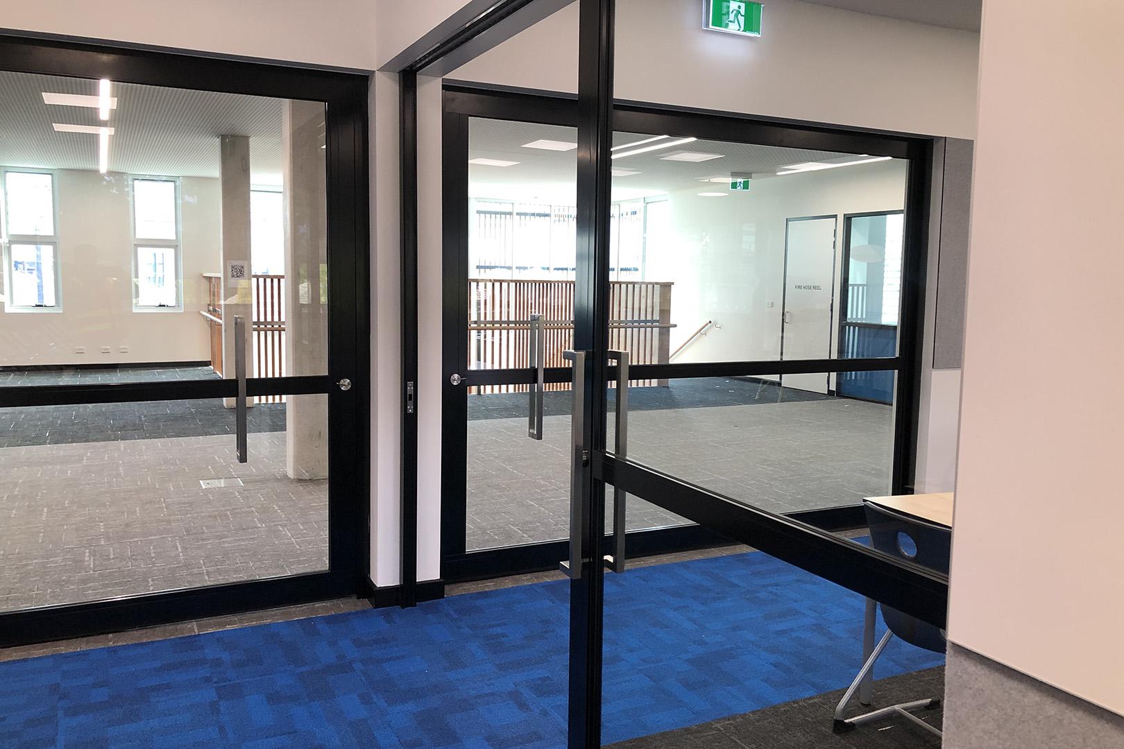 image of acoustic sliders inside a school