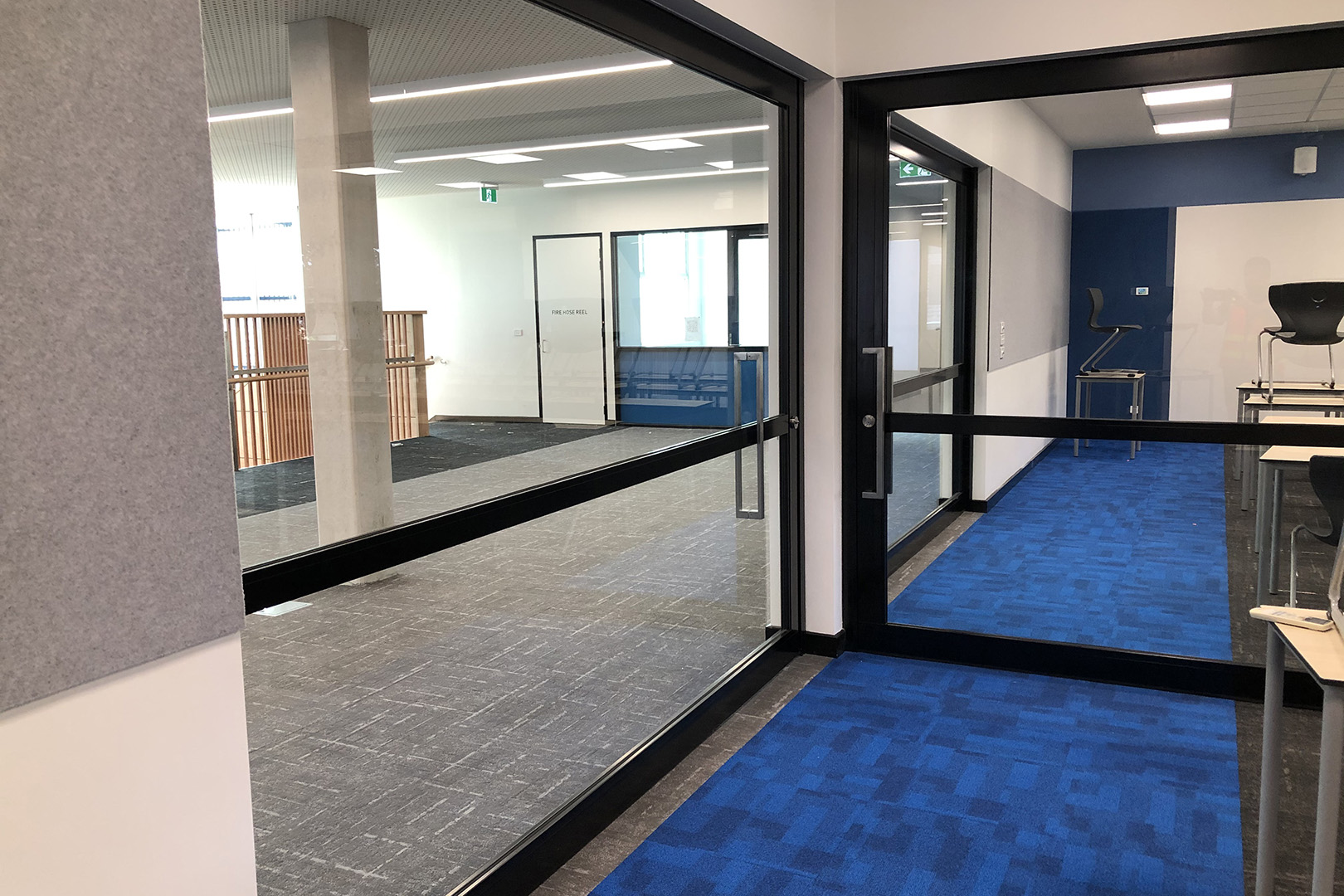 image of acoustic sliding doors inside a secondary school