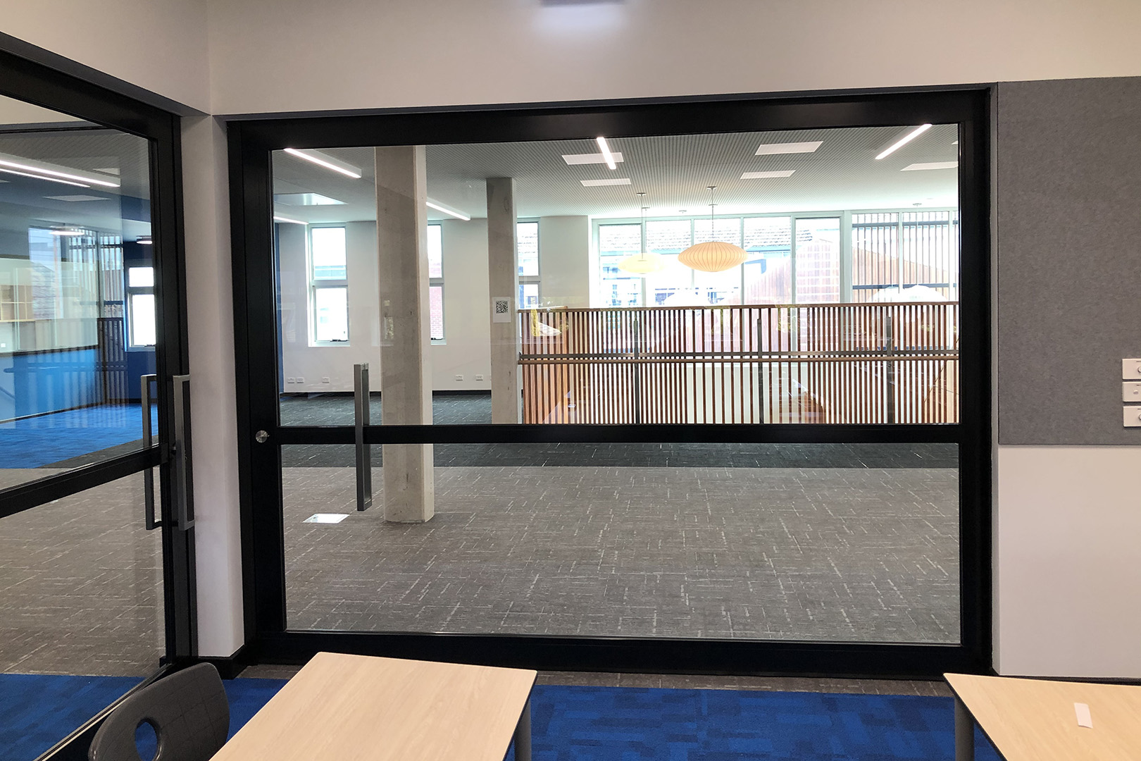 image of acoustic sliding doors installed in a secondary school