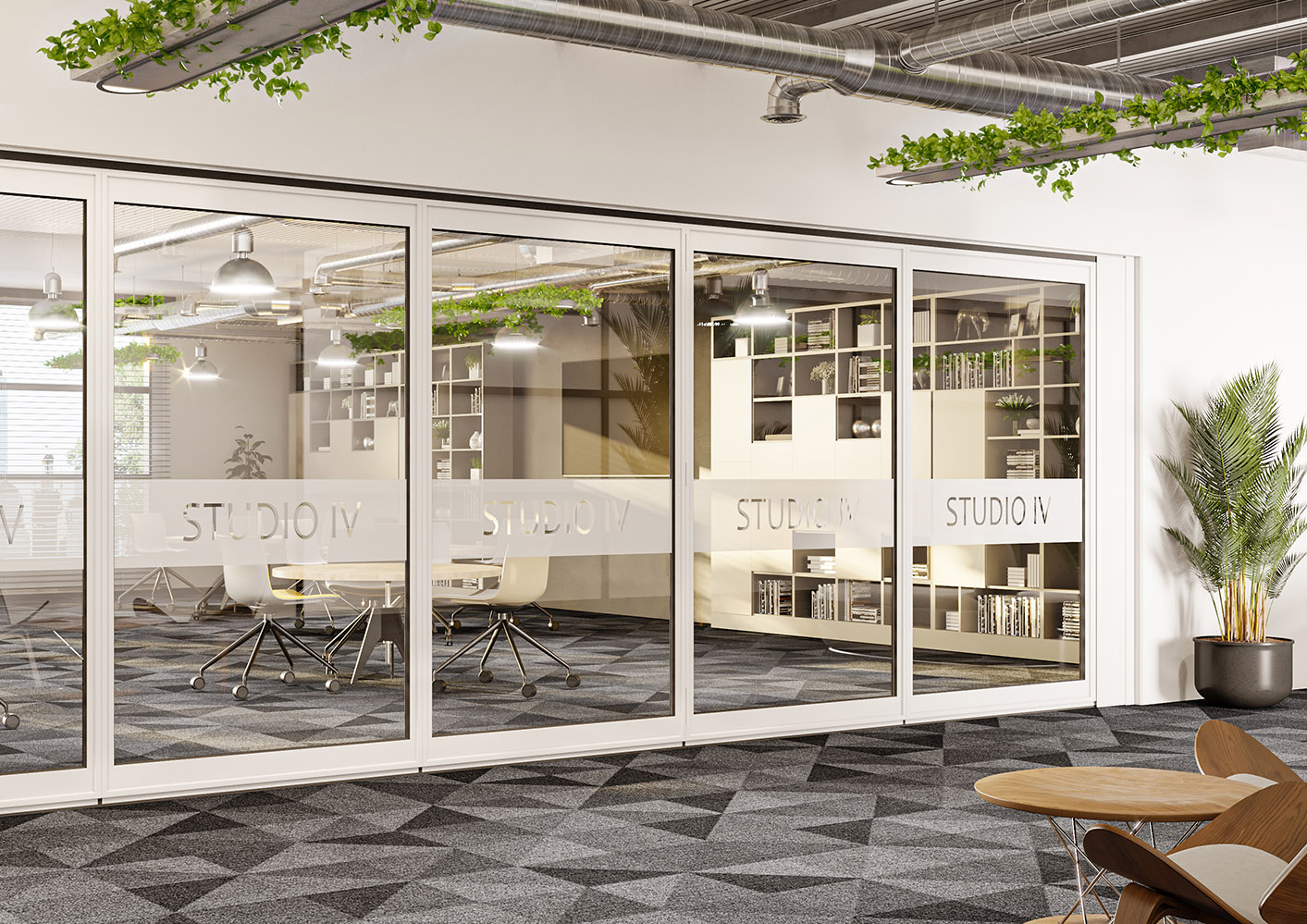 image of Optica glazed acoustic operable wall in corporate office