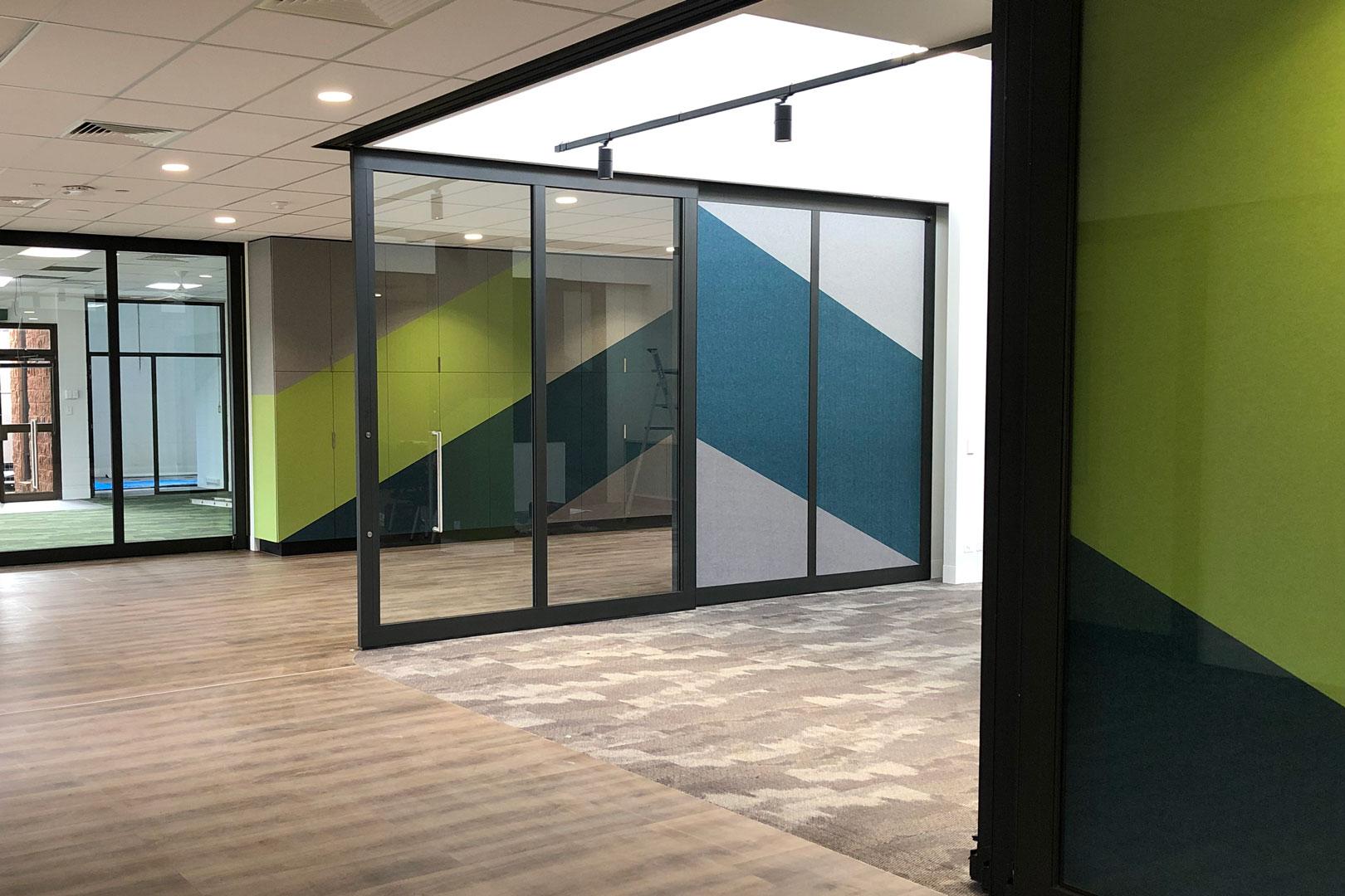 acoustic sliding doors in a primary school